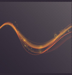 wavy golden shining line on transparent vector image