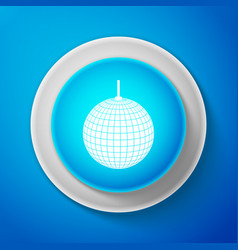 white disco ball icon isolated on blue background vector image