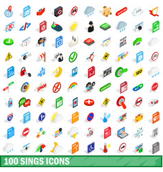 100 sings icons set isometric 3d style vector