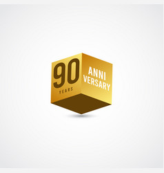 90 years anniversary celebration gold 3 d label vector