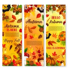 Autumn falling leaf september forest banner vector