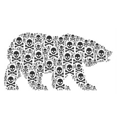 bear collage of death skull items vector image