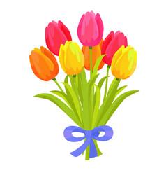 beautiful bouquet seven multicolored tulips vector image