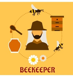 Beekeeping concept with beekeeping and apiculture vector