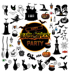 big set elements for halloween vector image