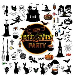 Big set elements for halloween vector
