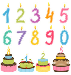 Birthday Numbers Candle With Cakes Vector