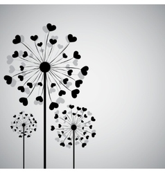Black dandelion with hearts vector