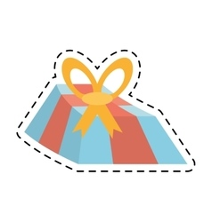 Blue gift box yellow bow and red ribbon line vector