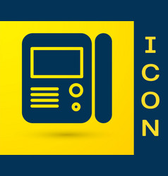 Blue house intercom system icon isolated on yellow vector