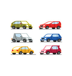 cars different colors on a white background vector image
