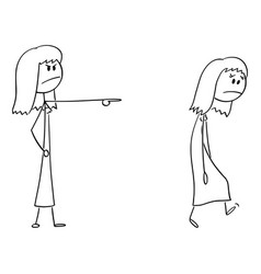 cartoon angry woman or female boss expelling vector image