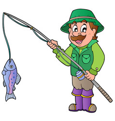 Cartoon fisherman with rod and fish vector