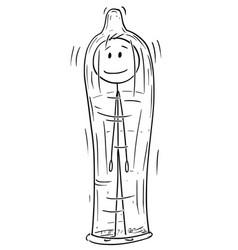 cartoon man inside big condom vector image