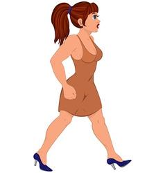 Cartoon woman in brown dress walking vector image