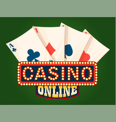 casino shiny board and deck ace cards vector image