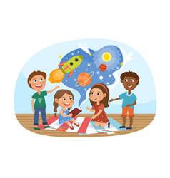 Children exploring outer space vector