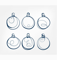 christmas balls one line isolated design element vector image