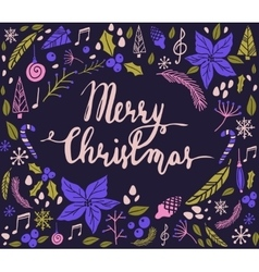 Christmas card with fir tree vector image