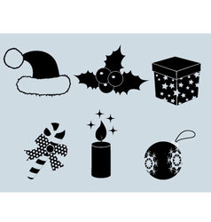 Christmas set of icons collection silhouette 2 vector