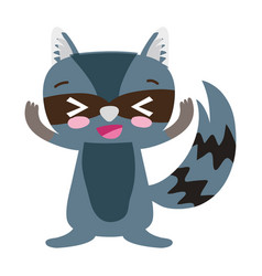 Colorful cute and glad raccoon wild animal vector