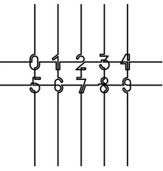 connected numbers set black elements on white vector image