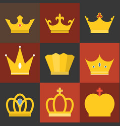 crown flat design set 3 vector image