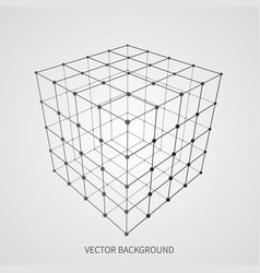cube 3d mesh wireframe web and data connection vector image