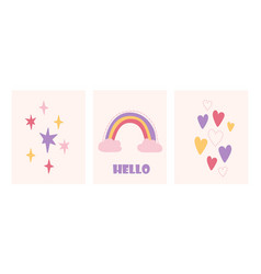 Cute childish set with rainbow stars and hearts vector