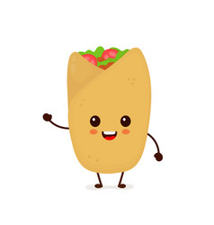 Cute funny smiling happy burrito vector