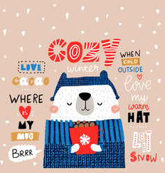 cute winter bear in sweater holiday and christmas vector image