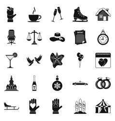 Elation icons set simple style vector