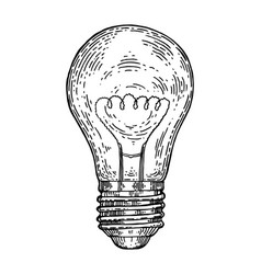 electric lamp engraving style vector image vector image