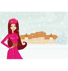 fashion winter girl on winter landscape vector image