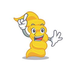 finger fusilli pasta mascot cartoon vector image