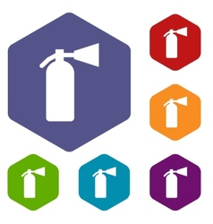 Fire extinguisher rhombus icons vector