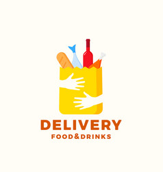 flat style colorful food and drinks delivery vector image