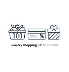 food basket grocery order shop special offer bonus vector image