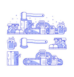 Forestry and sawmill icon set vector