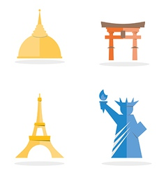 four famous landmark icon vector image