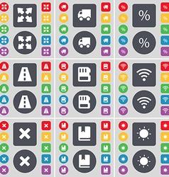 Full screen Truck Percent Road SIM card Wi-Fi Stop vector image