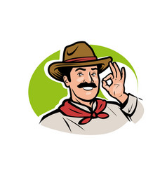 funny cartoon farmer logo agriculture farming vector image
