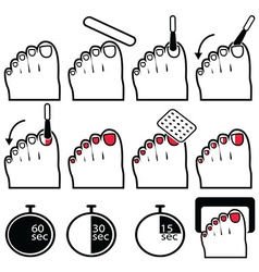 gel nails icons pedicure in colour vector image