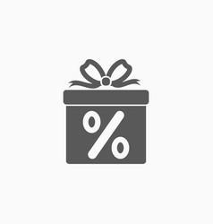 Gift box discount icon vector