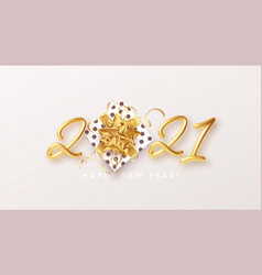 gold realistic metallic text 2021 with gift box vector image