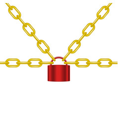 Golden chains locked by padlock in red design vector