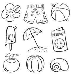 Hand draw object summer doodles vector