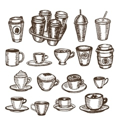 Hand drawn set of cups and coffee to go vector
