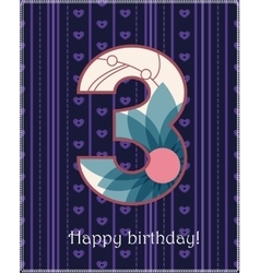 Happy birthday three card vector image