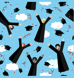 Happy graduates flying in the air with graduation vector